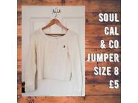 Soul Cal & CO Off White Jumper Size 8