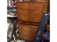 Reduced a pair of vintage bow fronted chests of drawers