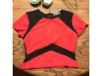NEW Pretty Little Thing red top with black lace insert, UK12
