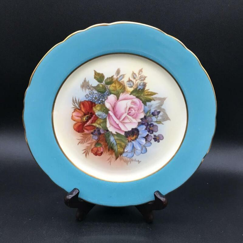 """AYNSLEY CABBAGE ROSE HP 8"""" SALAD PLATE LIGHT BLUE BORDER SIGNED BAILEY CH6120"""