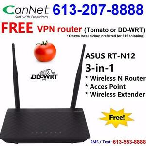 Free Wireless VPN router for any cable internet plans -  Asus RT-N12 Wifi N300 Router, Call 613-207-8888 to order