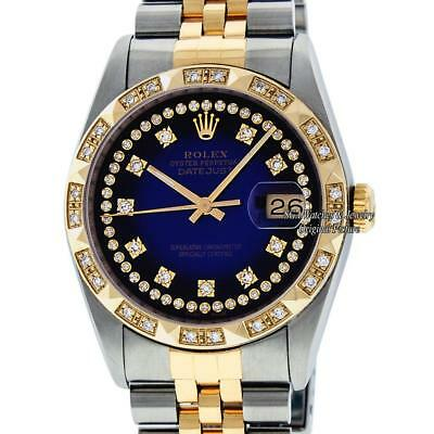 $5150.00 - Pre-Owned Rolex Mens Datejust 16013 SS & 18K Yellow Gold Blue Diamond Dial Bezel