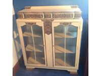 Cream and brown hand painted display cabinet with key