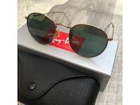 Brand New Genuine Rayban Round Metal RB3447 Gold Green Sunglasses