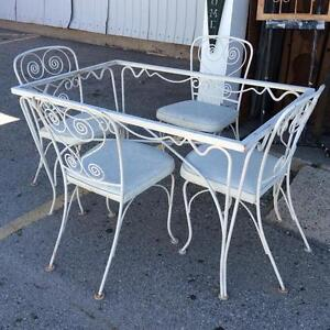 White Wrought Iron Dining Table and 4 Chairs Set