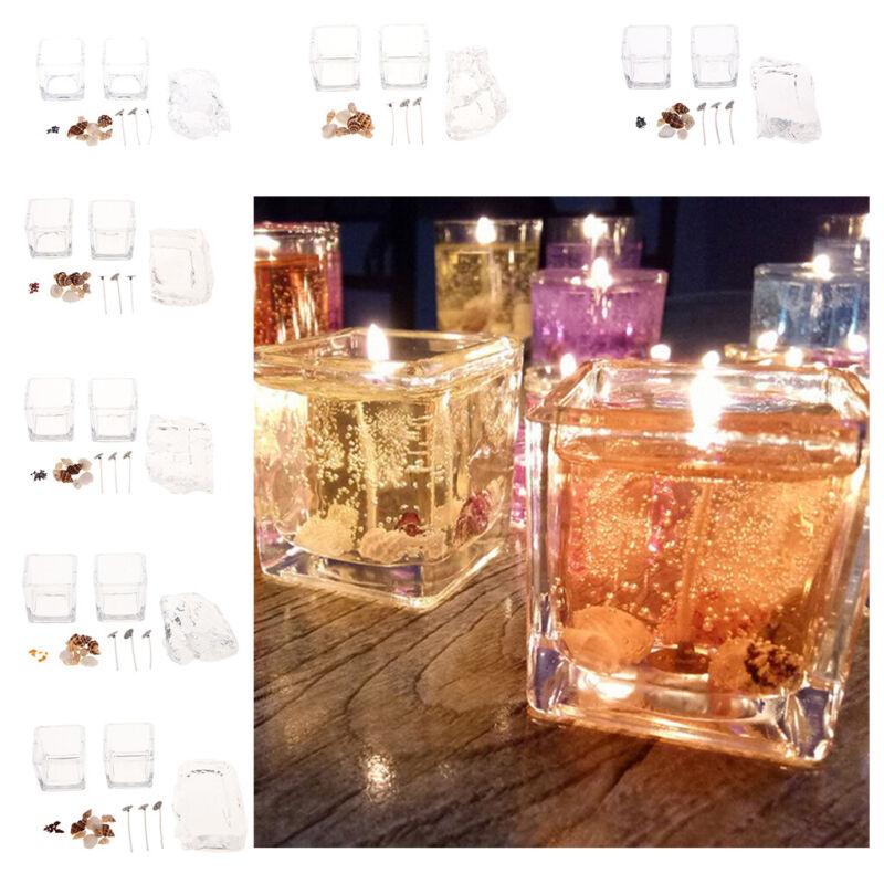 1 Candles Making Kit - Pre Tabbed Wicks Glass Holder Dye Chips Gel Jelly Wax