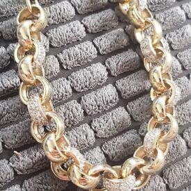 Mens gold beltcher bracelet with stones weight is 44 gram not no scrap gold