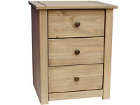 Solid Pine Three Drawer Bedside Chest Panama - Natural Wax