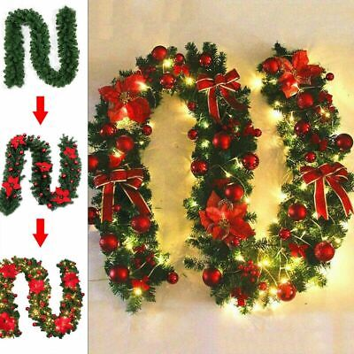 Christmas Fireplace Garland (9ft Christmas Garland XMAS Imperial Pine Fireplace Wreath Ornaments W/LED)