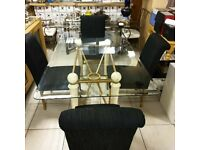 Glass Top Dining Table with 4 Metal Chairs