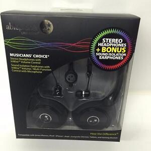 Able Planet SH180BMM-SI170B Stereo Headphones + Bonus Sound Isolation Earphones-Black