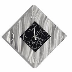 Modern Metal Wall Clock Art Abstract Silver Black Hanging Accent Decor Jon Allen