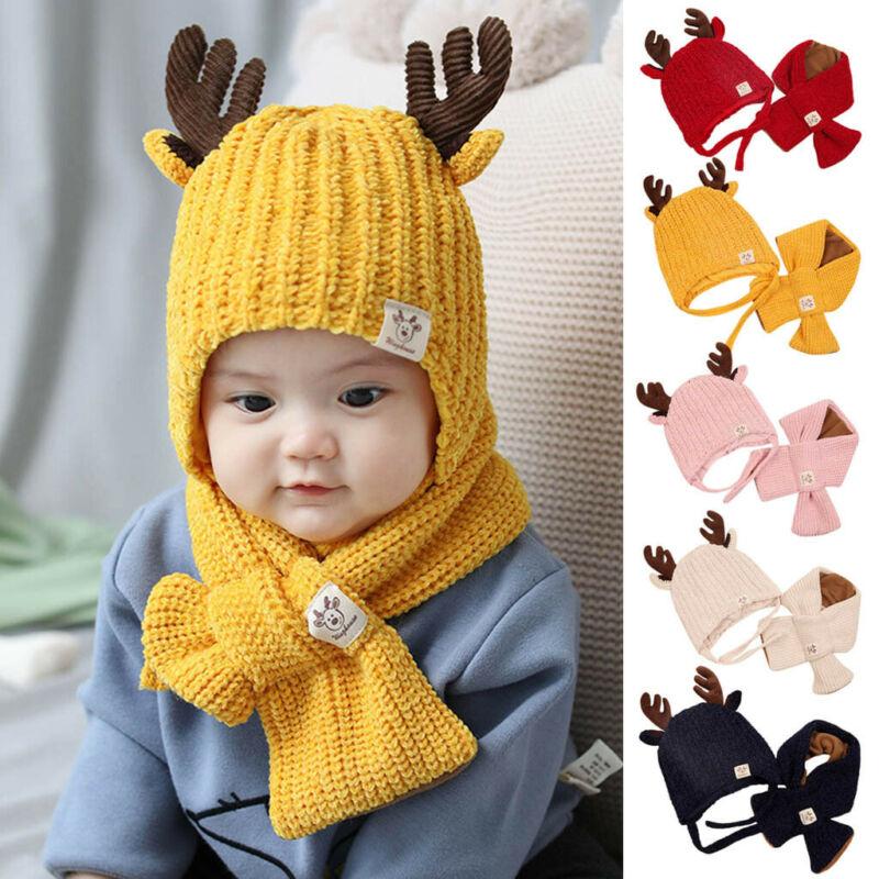 Toddler Kids Girl/&Boy Hat Baby Infant Winter Warm Crochet Knit Hat Scarf Set