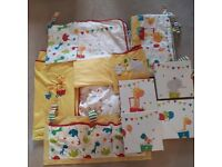 Large bundle of baby bedroom decor and bedding, little circus theme.