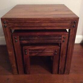 Dark solid wood nest of 3 square tables