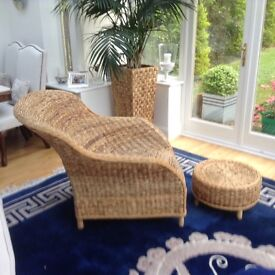 Beautiful Designer Rattan Conservatory chair and Foot stool