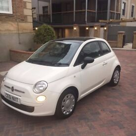 FIAT 500, 61 PLATE 2011, 3DR, WHITE, BLUETOOTH BUILT IN, READ & BLACK Interior