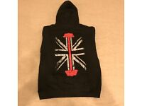 Black Barbell / Union Flag Hoodie Just Hoods by ALL WE DO is - small