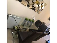 Modern Glass & Chrome Dining Table 6 Seater w/ Chairs