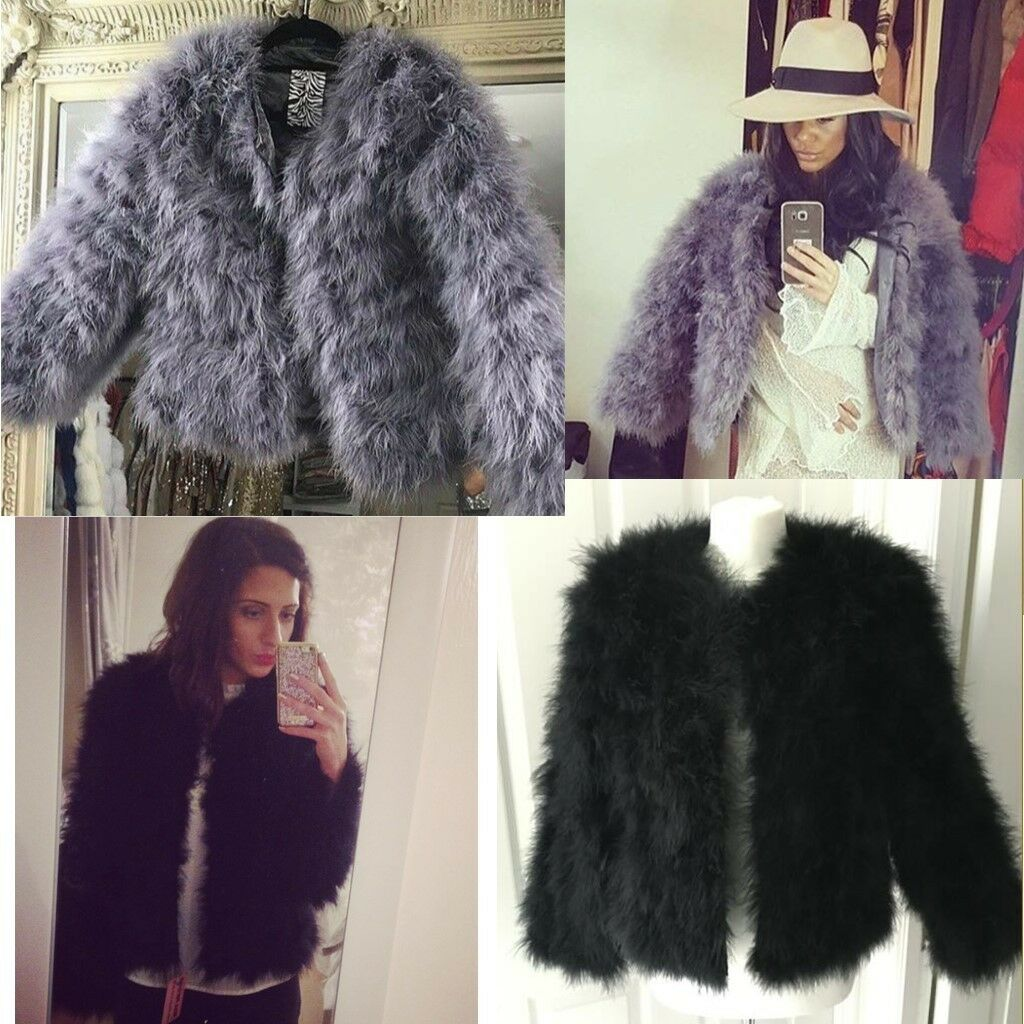 Ladies Real Fur Ostrich Feather Coat Winter Soft Fur Jacket Fluffy CB Xmax Balma