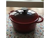 Red and black Heavy Cast Iron Pot