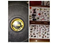 Shakespeare 2755 Graflite Reel & Box of flys.