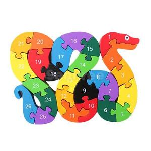 Wooden Snake Shape Puzzle Jigsaw Alphabet Number Blocks Kid Educational Toys