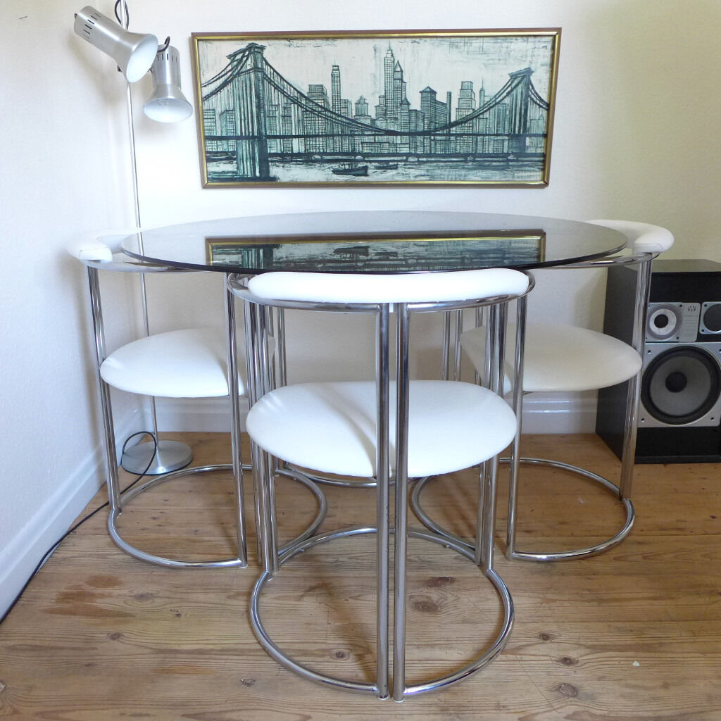 Vintage Chrome Smoked Gl Dining Table And White Faux Leather Chairs Delivery Possible