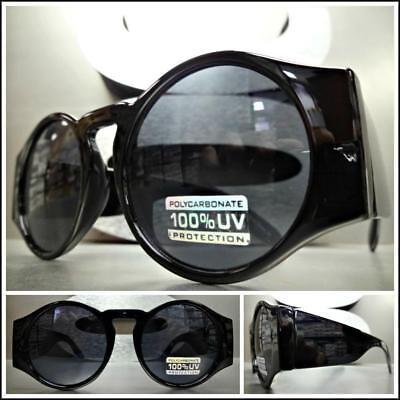 Klassisch Retro-Stil Sonnenbrille Groß Dick Rund Schwarzes Gestell Dunkele Linse