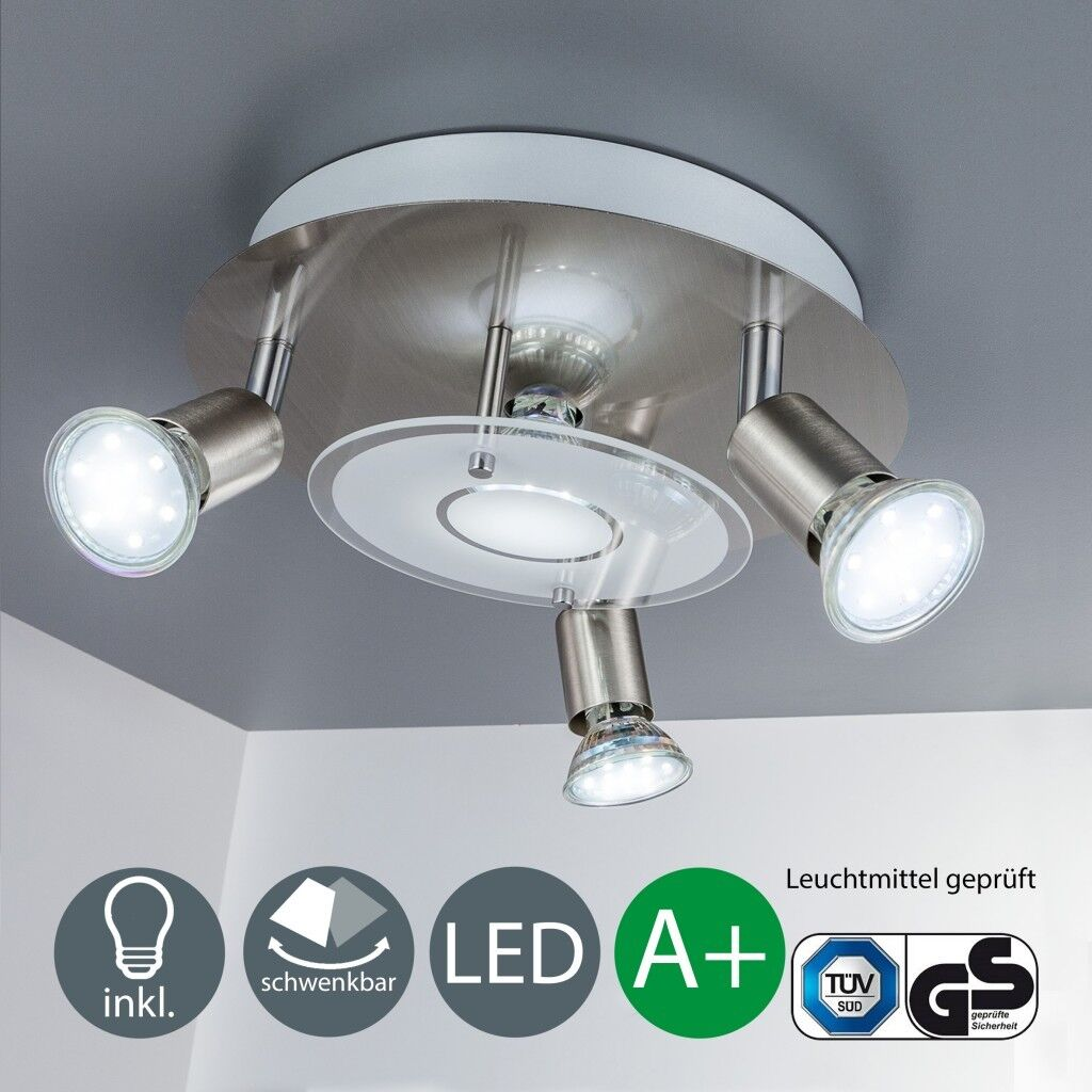 Deckenlampe Design LED Decken-Leuchte modern 4 Strahler GU10 Lampen Leuchtmittel