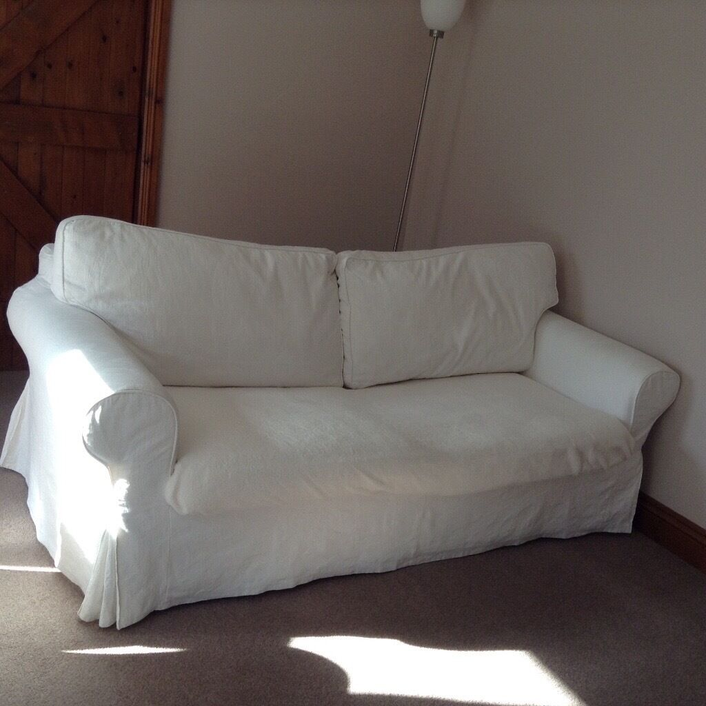 IKEA Ektorp Sofa Bed With 2 Matching Armchairs, Cream Washable Covers.  Prepared To Sell