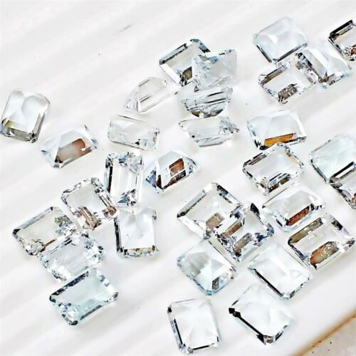 Wholesale Lot of 9x7mm Emerald Cut Natural Aquamarine Loose Calibrated Gemstone