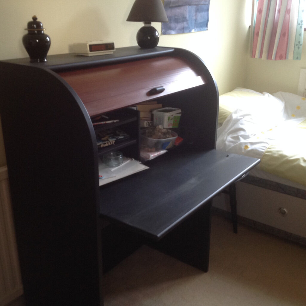 Superbe Ikea Roll Top Desk Black And Natural Wood, Pull Out Working Flap,good  Condition