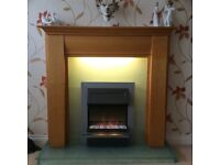 Cherry wood Fire surround +electric fire +matching ceiling light