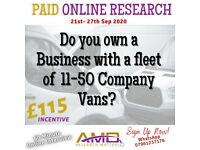 PAID ONLINE RESEARCH - COMPANY VANS (£115 Incentive)