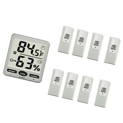 LCD Wireless 8-Channel Indoor/Outdoor Thermo-hygrometer with 8 Remote Sensor