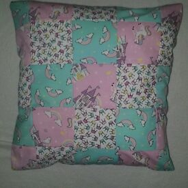 nursery set bedding cushion bunting elephant. unicorn castles rainbows theme handmade
