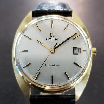 Omega Geneve 1970s Solid 18k Gold Schweizer 34mm Manuel Herren Vintage Uhr LV316 ()