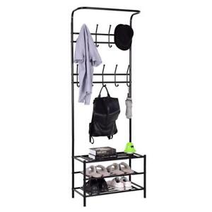 Metal Entryway Coat Hat Shoes Rack 3 Tier Storage Shelf 18 Hooks Garment Rack - BRAND NEW - FREE SHIPPING