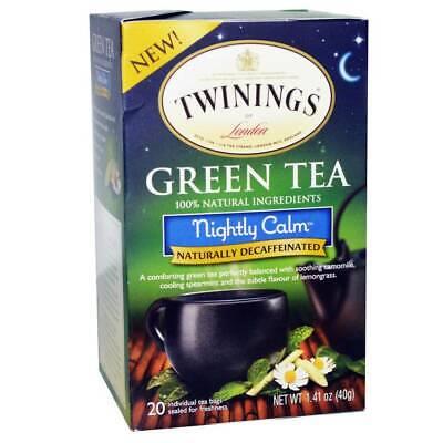 Calming Green Tea - TWININGS GREEN TEA NIGHTLY CALM DECAFFEINATED 20 Tea Bags