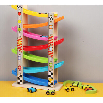 Wooden Race Track Ramp & 8 Mini Cars Vehicle Playset - Baby