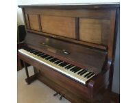 Klingman Upright piano with dark and light wood finish