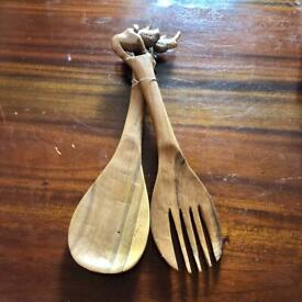 South African Hand Carved Wooden Rhinoceros Salad Serving Spoon & Fork Utensils Set NEW