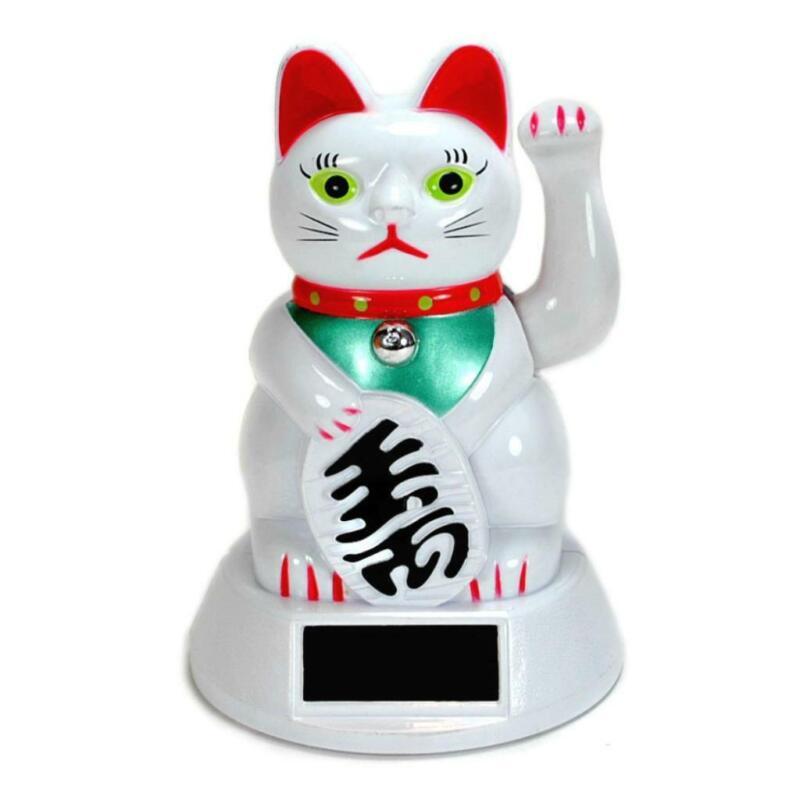 SOLAR POWER BECKONING CAT White Lucky Waving Kitty Maneki Wealth Fortune Luck