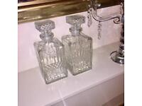 Two glass crystal decanters