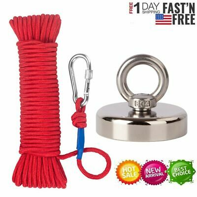 Max 1000lb Fishing Magnet Kit Strong Neodymium Pull Force With Rope Carabiner
