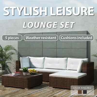 Garden Furniture - 14PC PE Wicker Rattan Garden Outdoor Sofa Lounge Furniture Setting Brown/Black