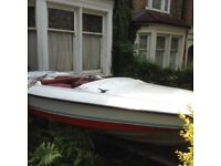 4 seats Fletcher speed boat with 50 HP Mercury Engin and trailer, sale as you seen,