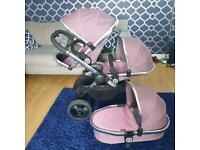 Icandy I candy peach 3 marshmallow pink double pram pushchair
