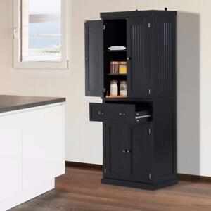 "Black 72"" Wood Kitchen Pantry Cabinet Tall Storage Cupboard Food Organizer Shelf"
